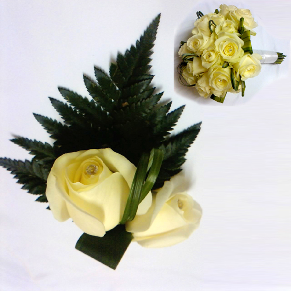 Grooms Buttonhole and Bridal Hand Tied