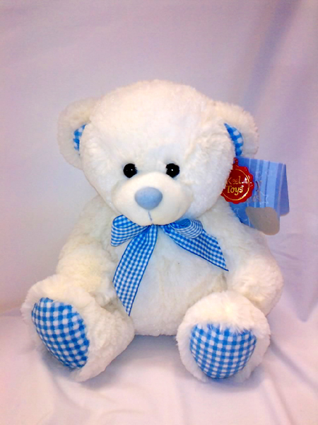Blue & White Teddy Bear